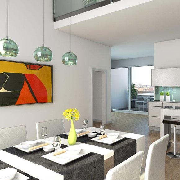IP Muenchen moderne Wohnung Innenansicht Küche Esszimmer Balkon